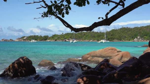Seychelles. Praslin Island. Beautiful private yacht in the blue sea water on the background. Shooting from behind trees and big stones. Tourism, relax, vacation, travel concept.