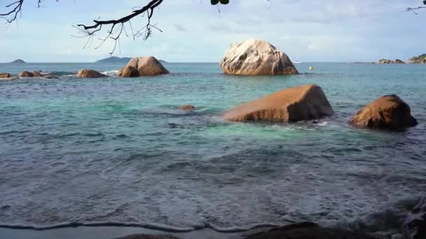 Seychelles. Praslin Island. Amazing view of the nature of the island located in the Indian Ocean. Rocky shore. Tropical island luxury vacation.