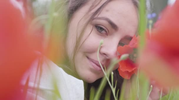 Portrait of cute young woman sitting in poppy field looking at camera. Connection with nature. Green and red harmony. Contrast colors in poppy. Blossoming poppies. Red poppy in the hands of the girl.