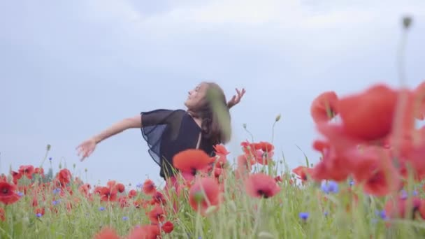 Pretty girl dancing in a poppy field smiling happily. Connection with nature. Leisure in nature. Blossoming poppies. Freedom.