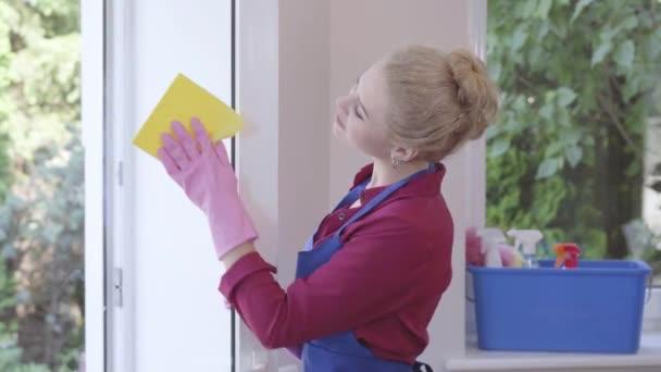 hübsches lächelndes blondes Mädchen in blauer Schürze, das Fenster mit Fensterlappen im Zimmer wäscht. Putztag. Positive Haushälterin putzt das Haus. Werbung