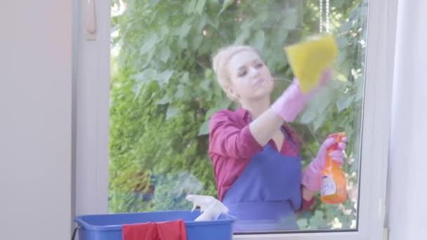 Porträt entzückendes blondes Mädchen in blauer Schürze, das Fenster mit Fensterlappen im Zimmer wäscht. Positive Haushälterin putzt das Haus. Hauswirtschaft Hausarbeit und Reinigungsservice-Konzept.