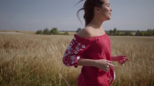 Side view of beautiful carefree woman with long hair running through the wheat field, hair fluttering beautifully. Cute confident girl turns looking at camera. Real people series. Slow motion.