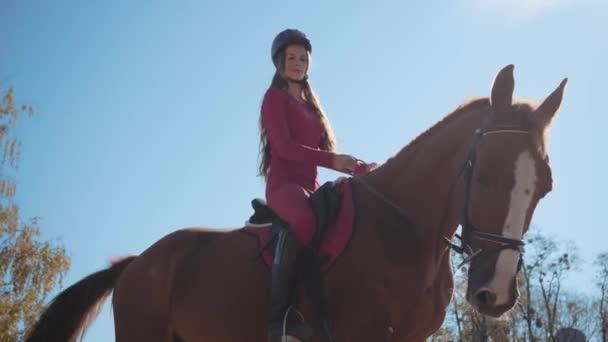 Porträt einer niedlichen kaukasischen Reiterin in pinkfarbener Kleidung und Reithelm, die im Sonnenlicht auf dem Pferderücken sitzt und lächelt. Profi-Jockey posiert am Herbsttag im Freien.