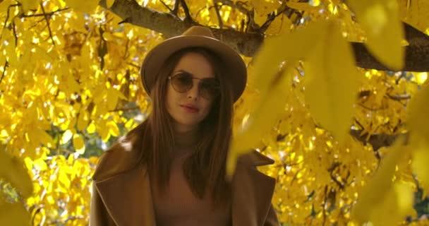 Affascinante ragazza caucasica in occhiali da sole e cappello in posa alla luce del sole nel parco autunnale. Bella donna che guarda la macchina fotografica con foglie che riflettono sul suo viso. Cinema 4k riprese Prores Hq.