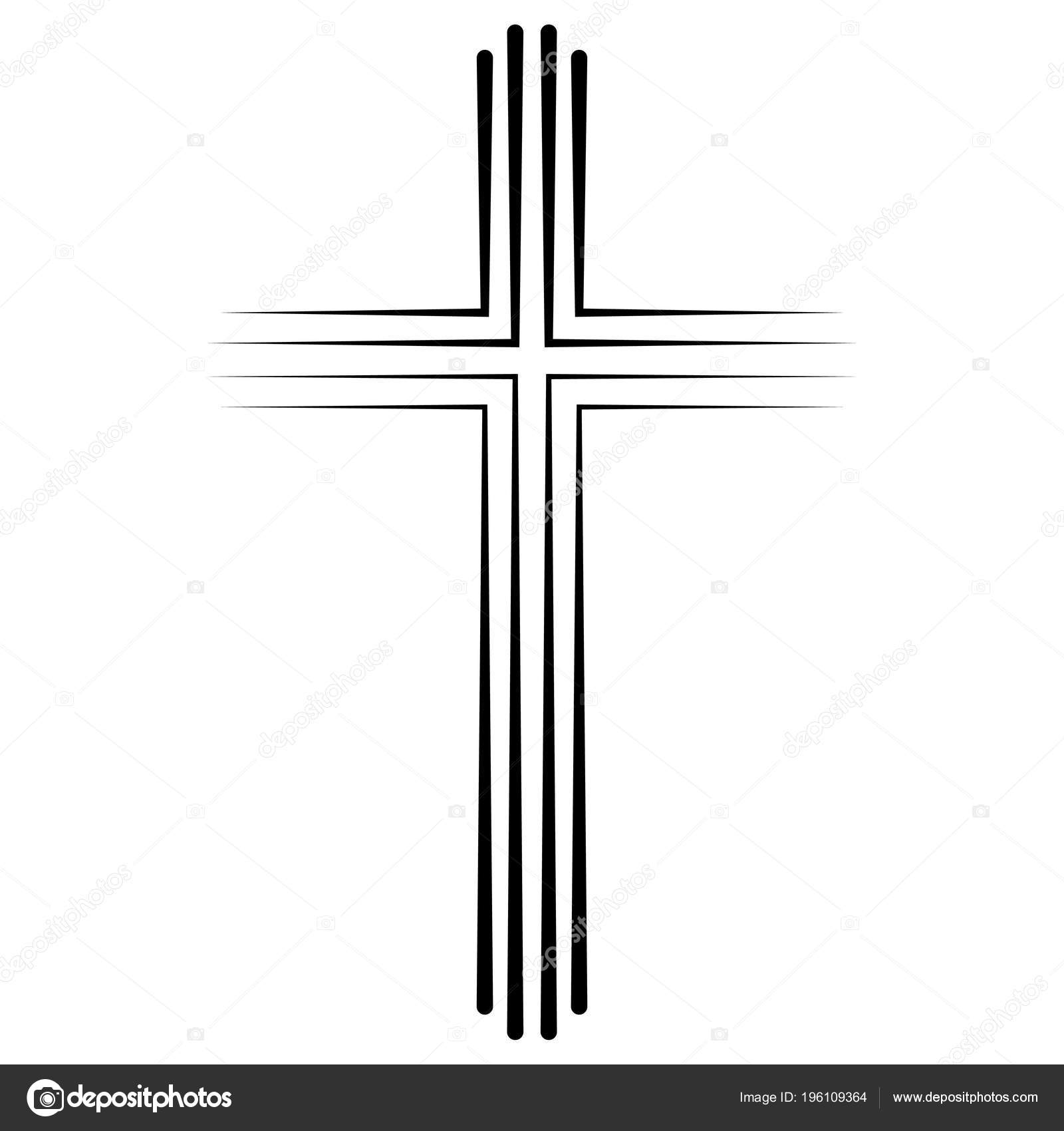 Christian Catholic Cross Symbol Flache Bauweise Vektor