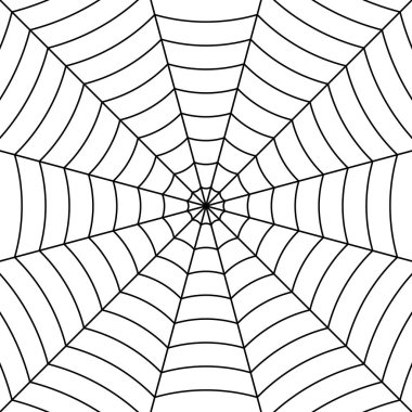 Cobweb background with black interwoven threads  spider, vector symmetrical pattern spider web for Halloween