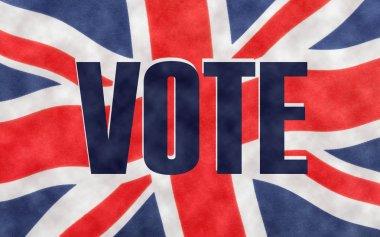 VOTE written on a British Union jack flag.