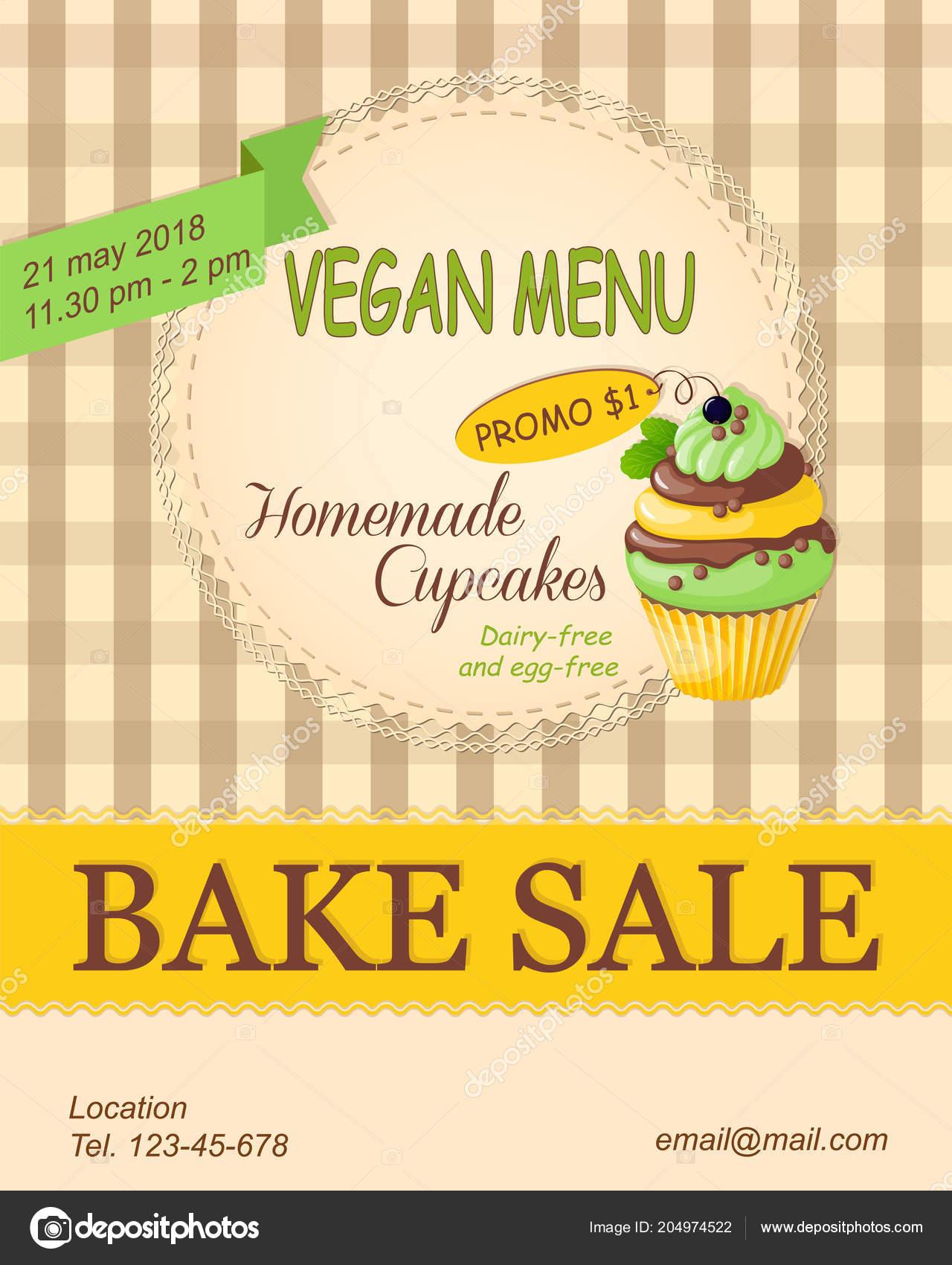 Colorful Flyer Template Vegan Bake Sale Promotion Banner