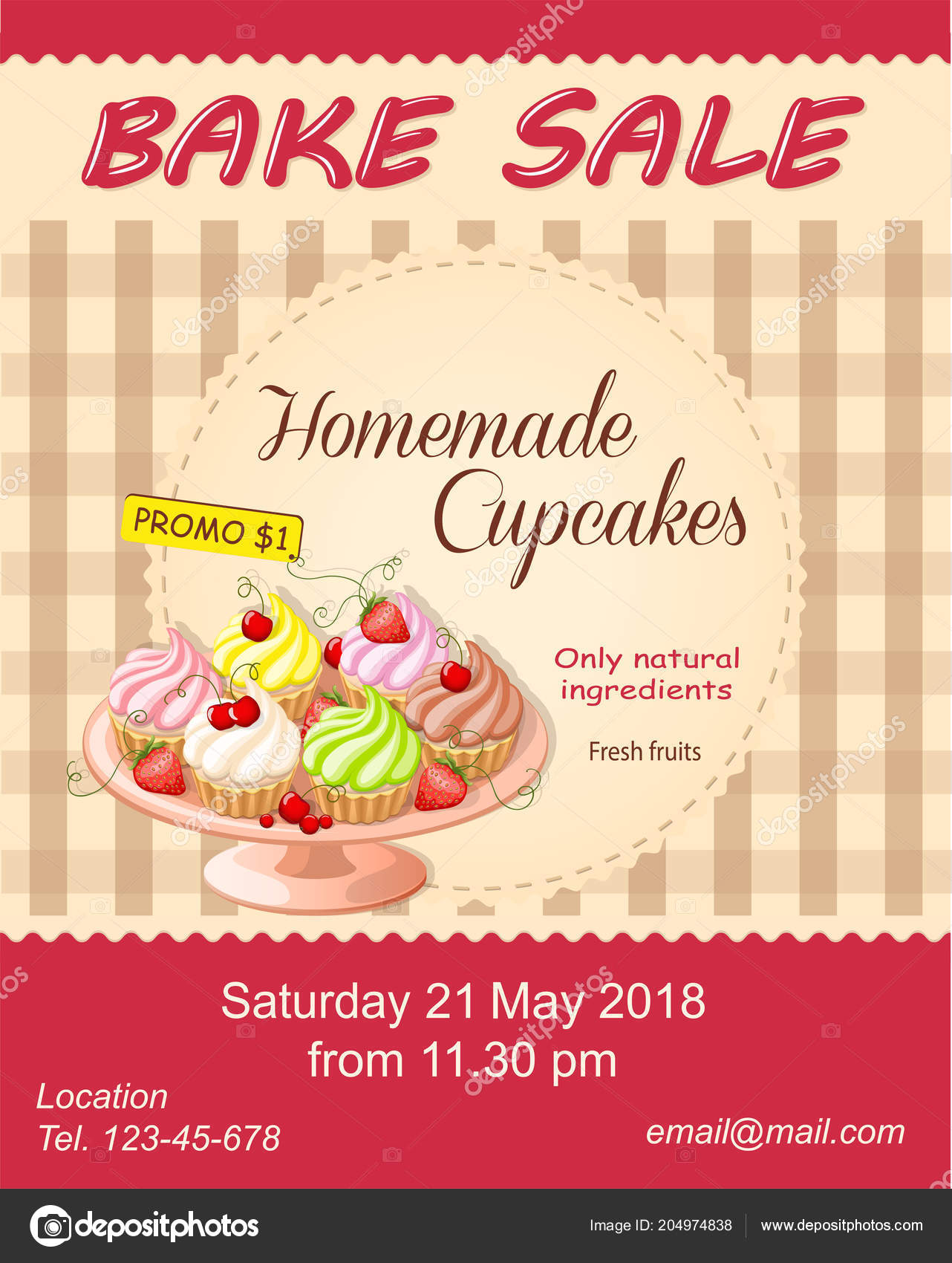 colorful flyer template bake sale promotion banner shop store