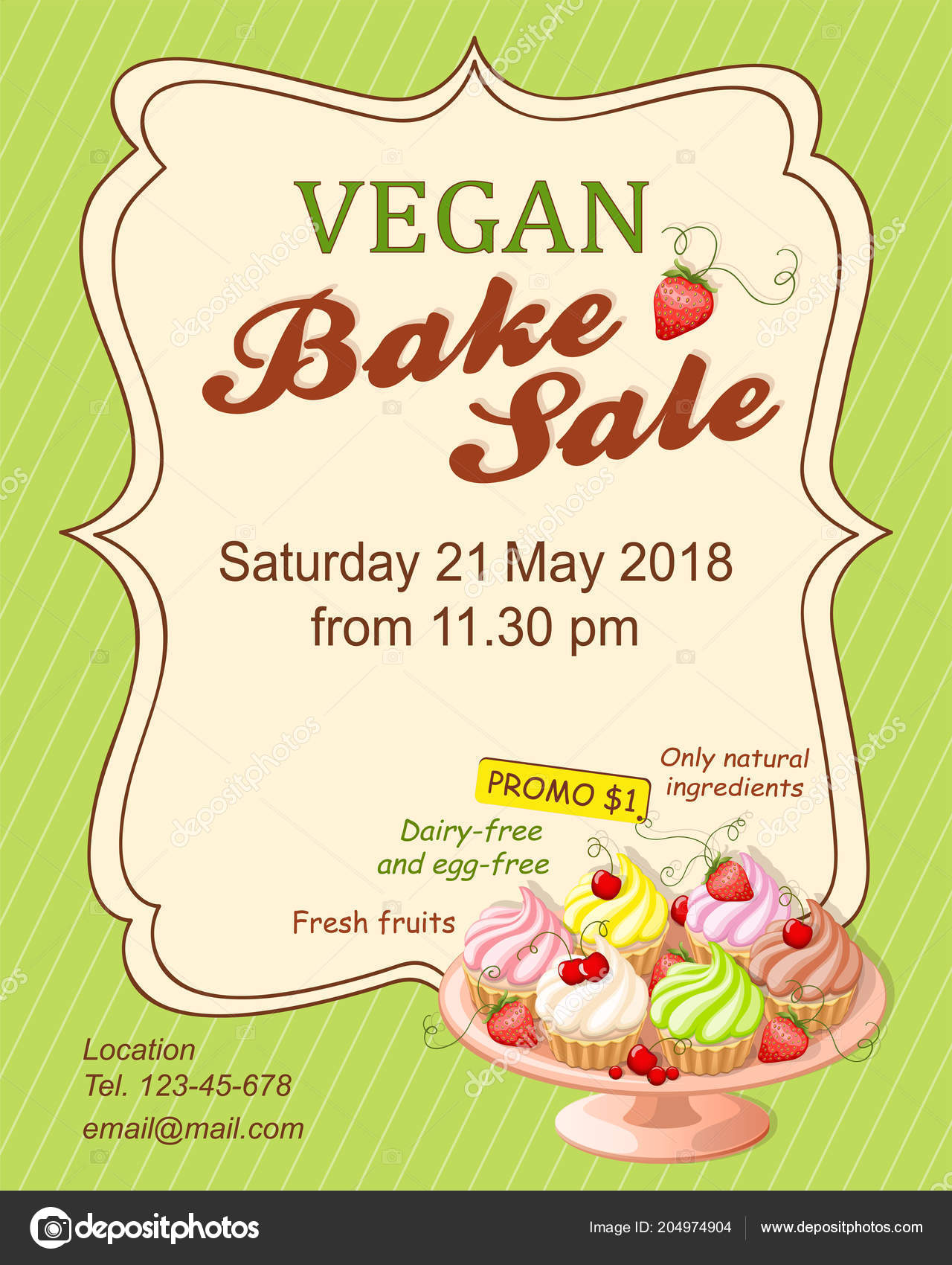 Boutique flyer template | Colorful Flyer Template Vegan Bake