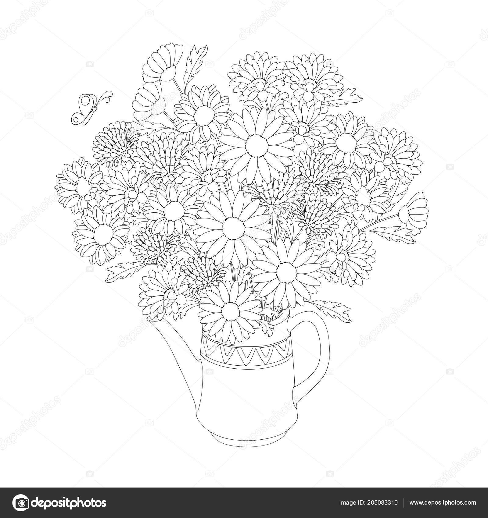 Sketch Monochrome Birthday Invitation Card Doodle Floral