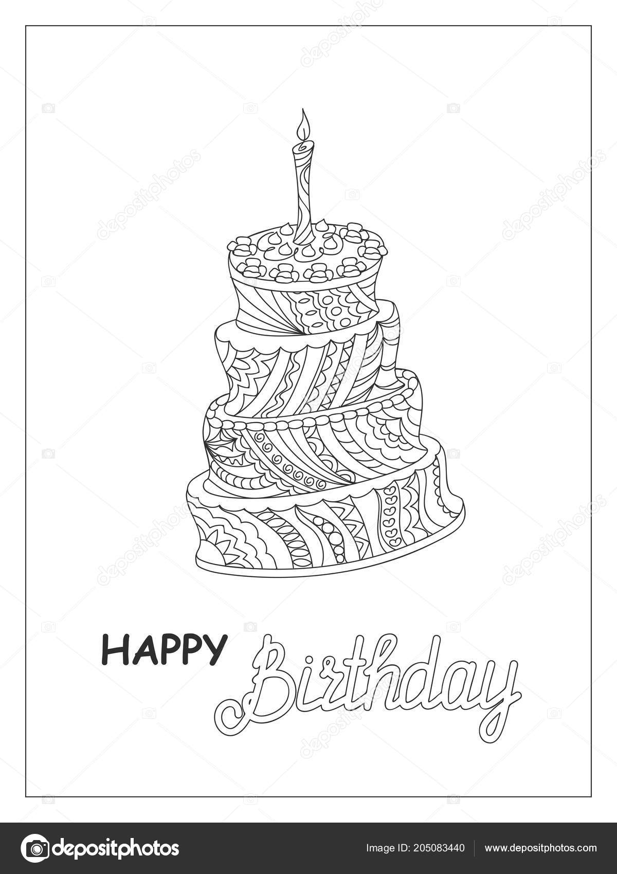 Tek Renkli Pasta Doğum Günü Kartı Veya çocuk Yetişkin Boyama Stok