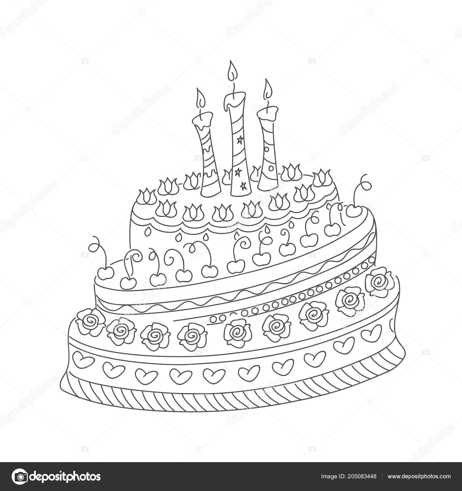 Sketch Monochrome Cake Birthday Card Children Adult Coloring Book ...
