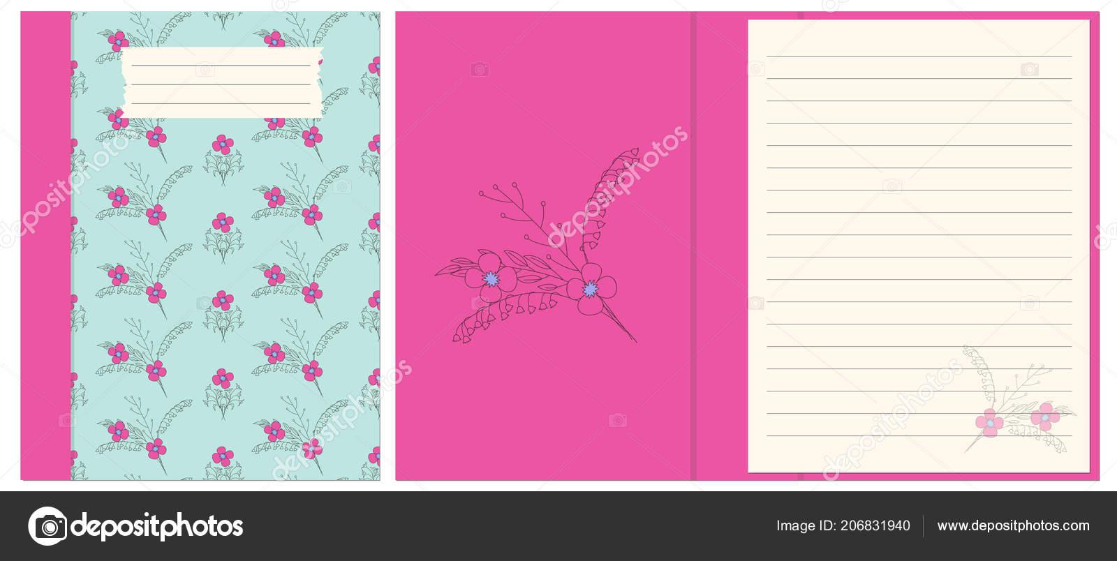 Diseño Cubierta Colorida Boho Mano Dibujado Flores Para