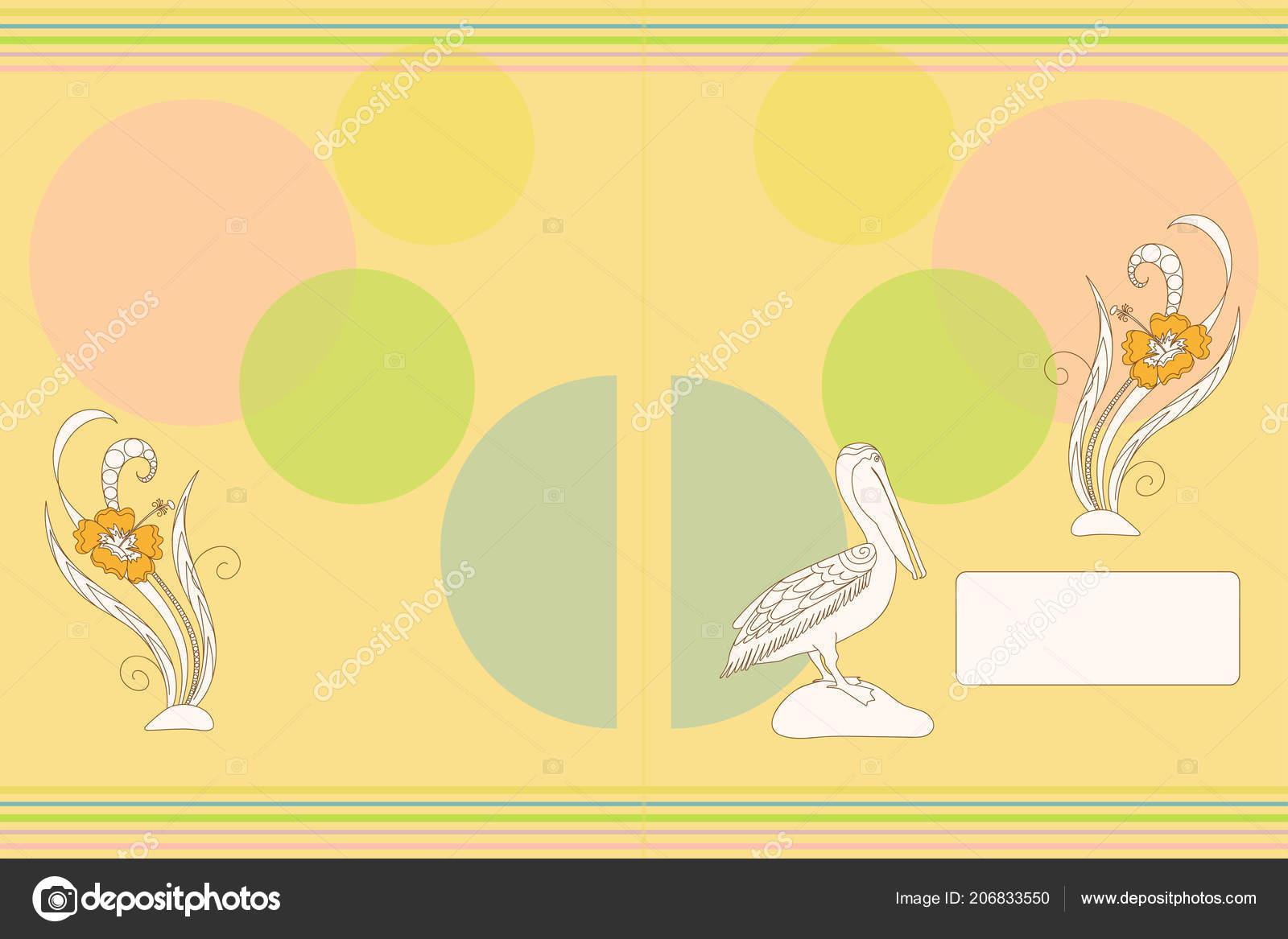 Diseño Cubierta Con Dibujos Animados Pelican Flores Para