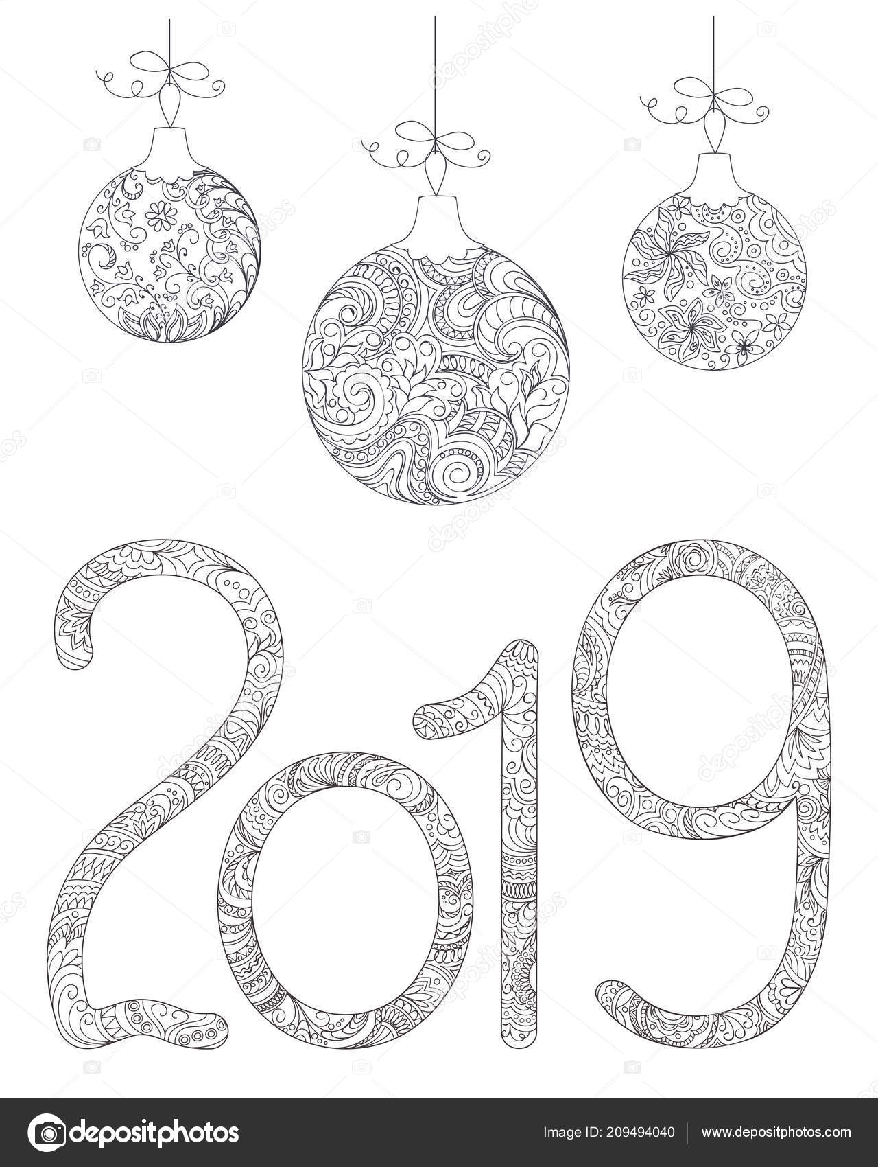 Bolas De Navidad Dibujos Para Colorear.Manuscrito Numero 2019 Bolas Navidad Con Dibujos Con Formas