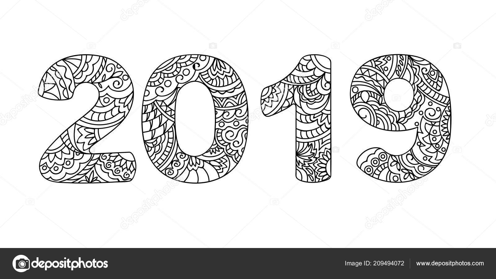 Handwritten Number 2019 Patterned Zen Tangle Shapes Isolated White