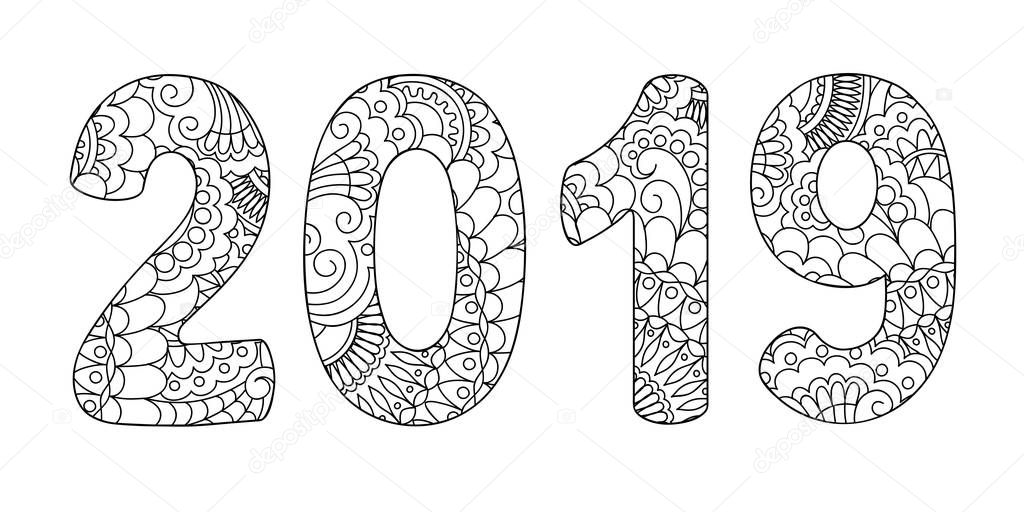 handwritten number 2019 patterned zen tangle shapes