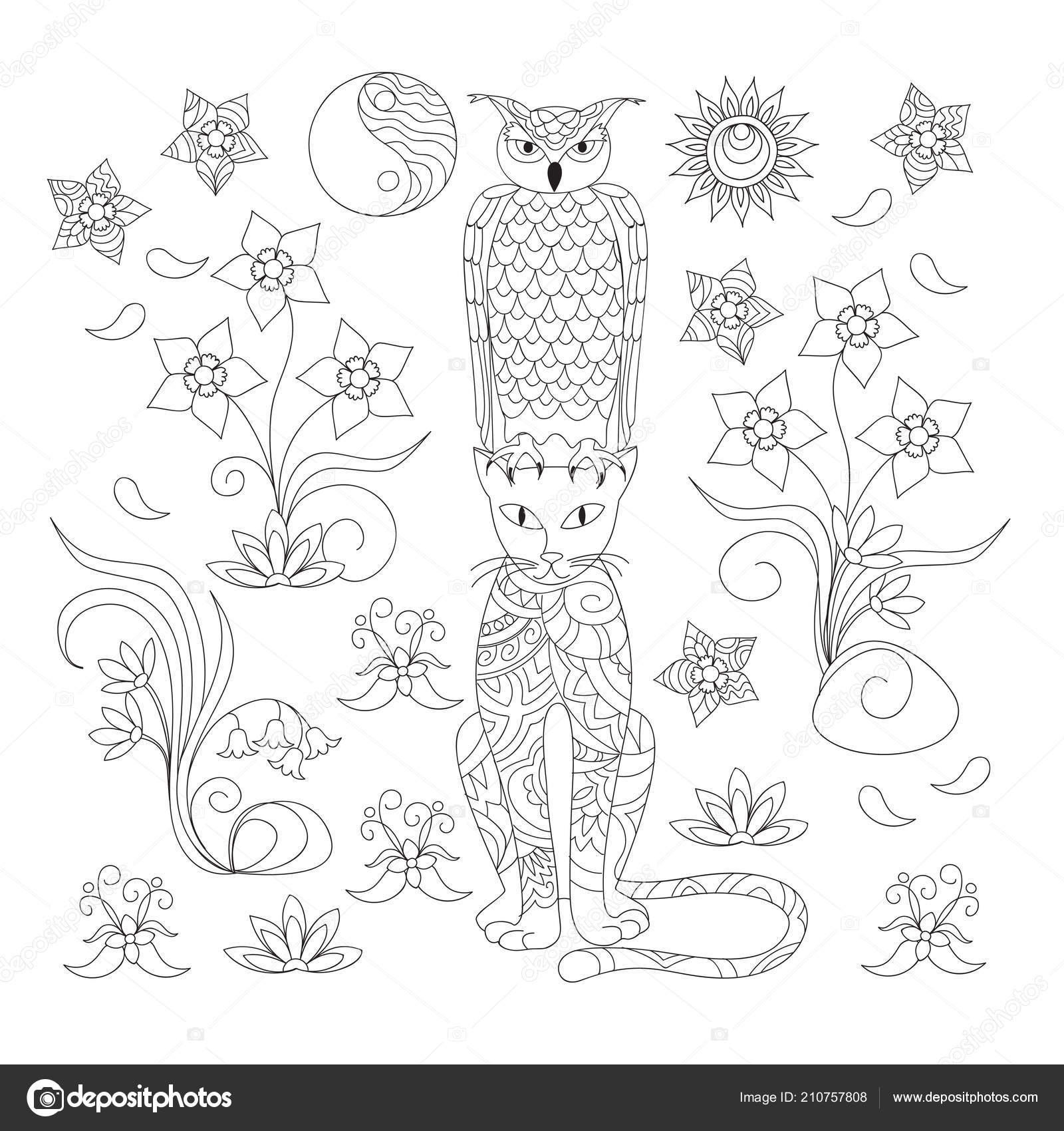 окраска страница рисованной узорной сова кошка среди цветов