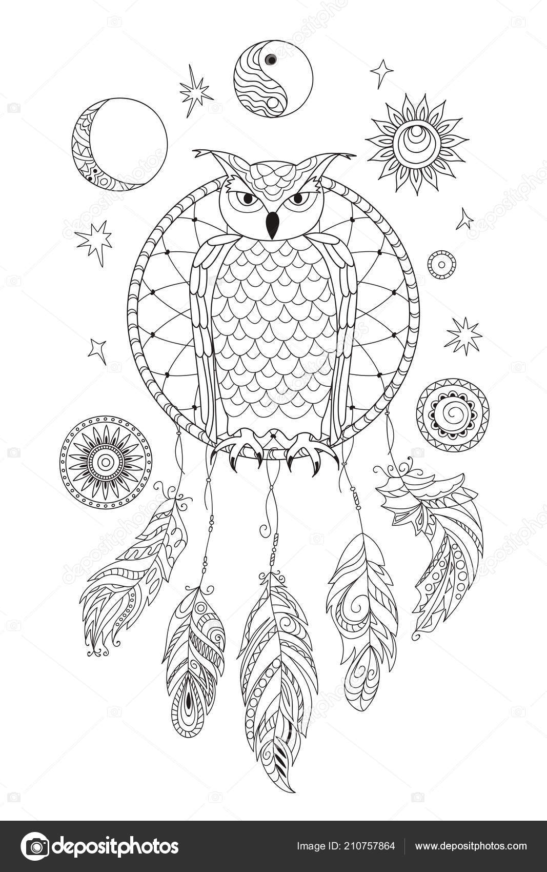 Coloring Page Symbol Moon Sun Jin Yang Patterned Owl Feathers