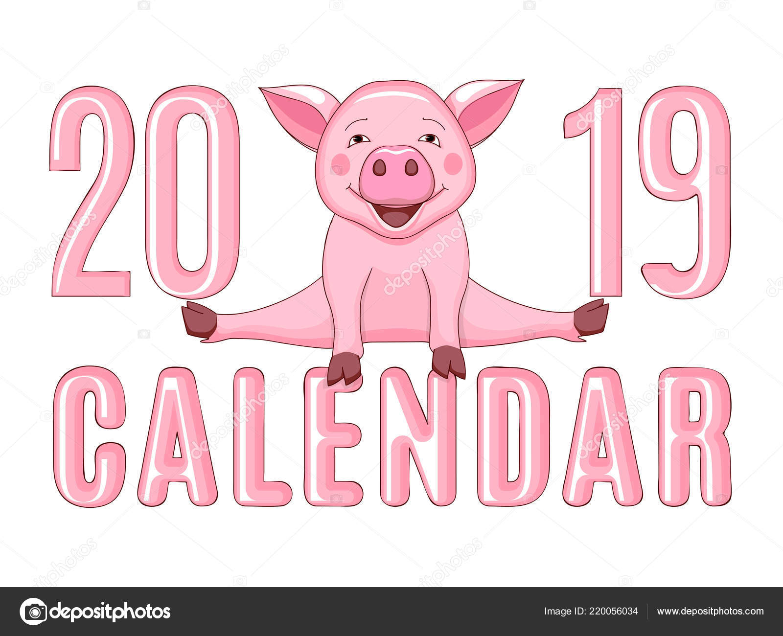 Simbolo Calendario Word.Simbolo Porcellini Rosa Fumetto Anno 2019 Secondo Astrologia