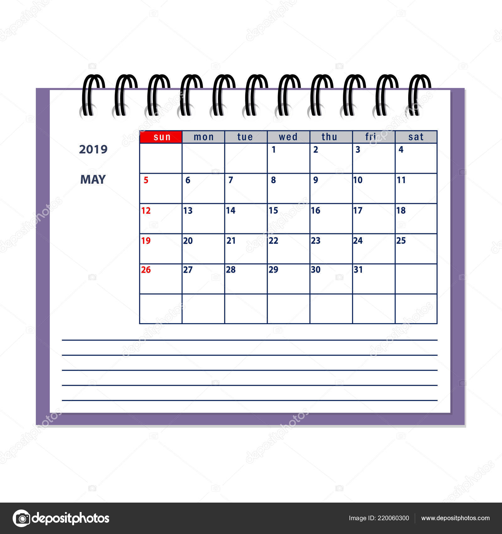 Calendario En Blanco.Pagina Aislada Mayo Ano 2019 Negocios Planificador Calendario Blanco