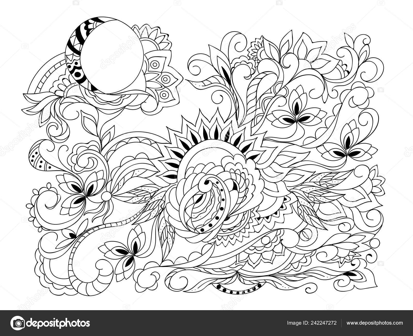 Mano Composición Dibujada Con Sol Luna Símbolos Motivos