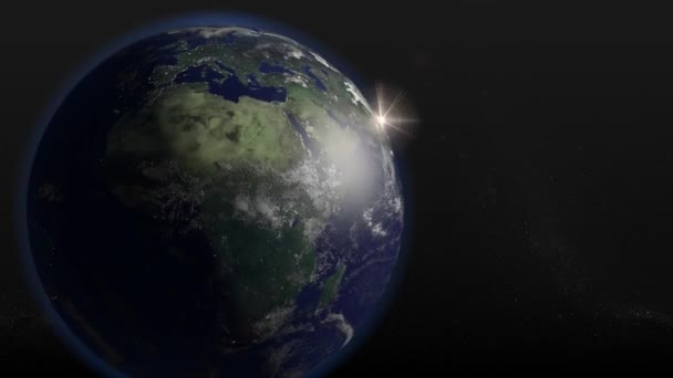 A seamless looping 3D animation of the Earth rotating  The Earth graphic is  offset to the left, for textual content to be displayed on the right  Earth  texture maps courtesy of NASA gov