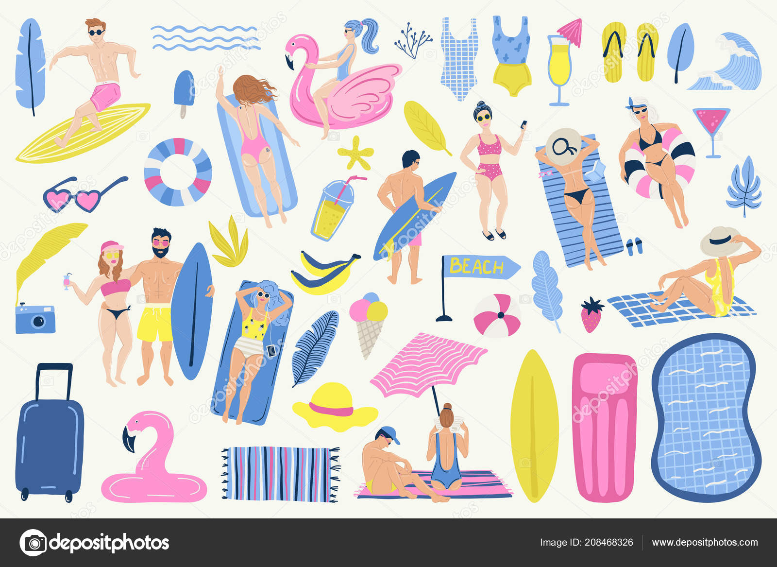 72e5f3b0150bf Summer set with hand drawn vector elements. — Stock Vector ...