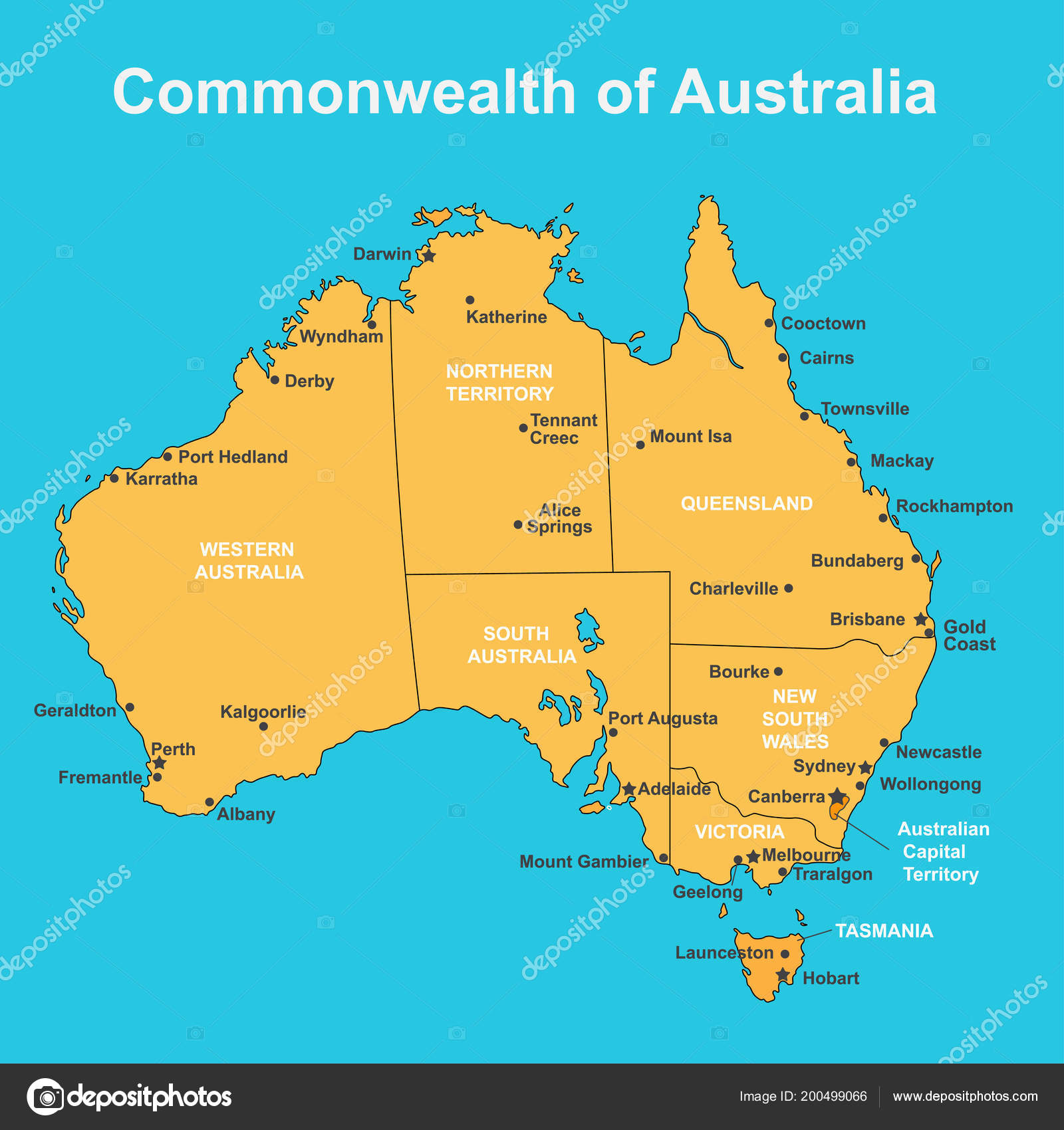 Map Of Victoria Australia With Towns.Map Of Australia With Major Towns And Cities Vector