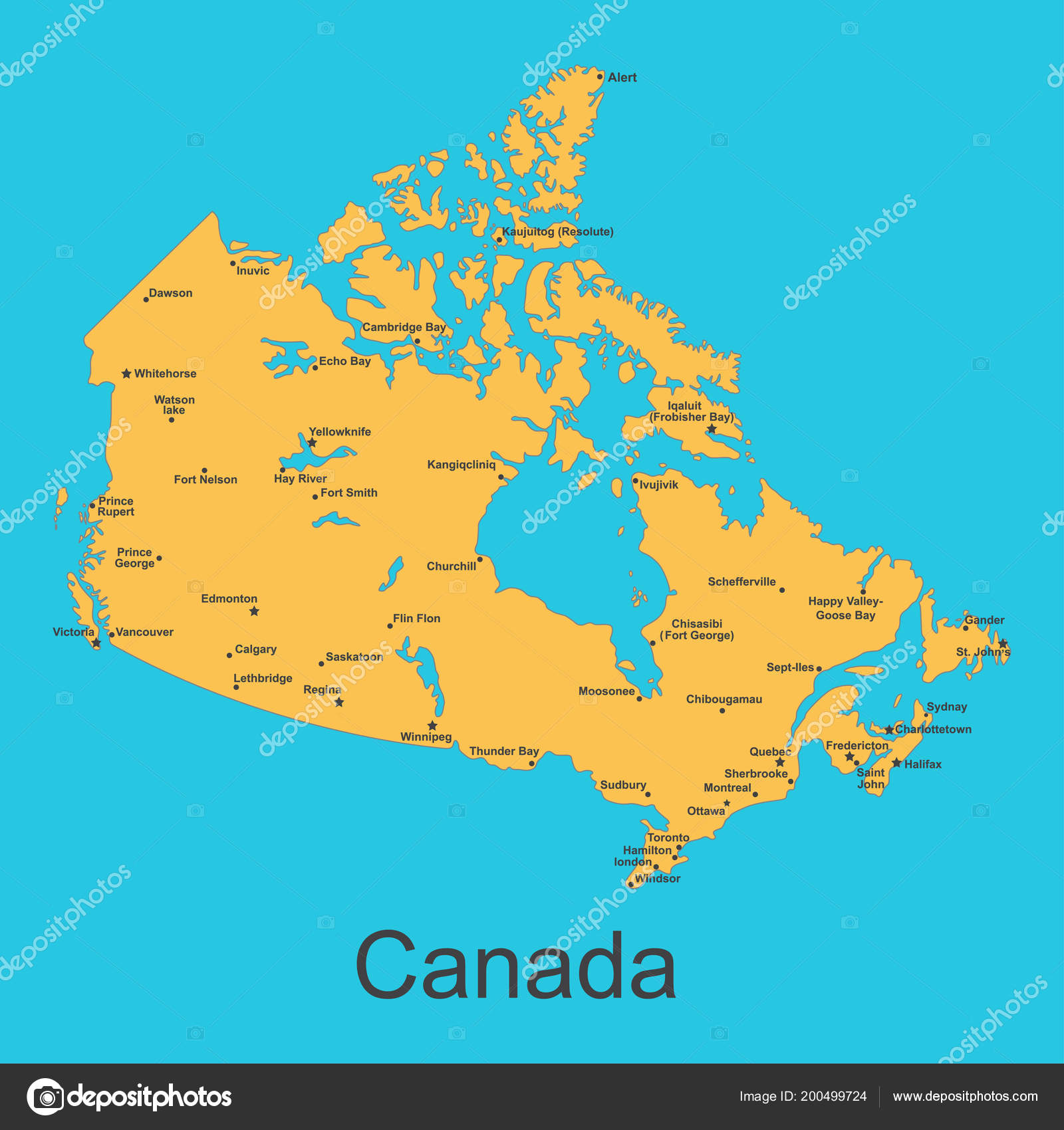 Carte Du Canada Avec Les Villes.Carte Du Canada Avec Des Villes Sur Un Fond Bleu