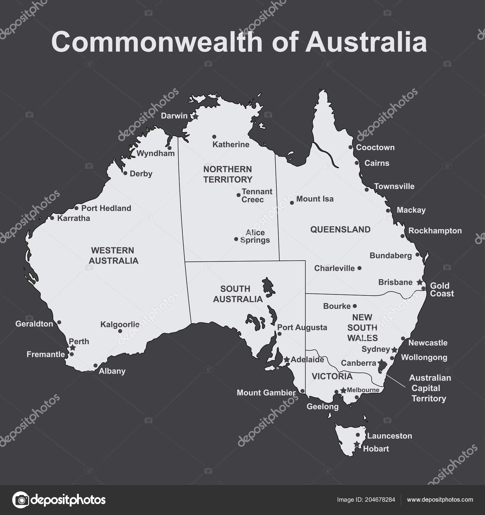 Map Of Victoria Australia With Cities.Map Of Australia With Major Towns And Cities Vector Illustration