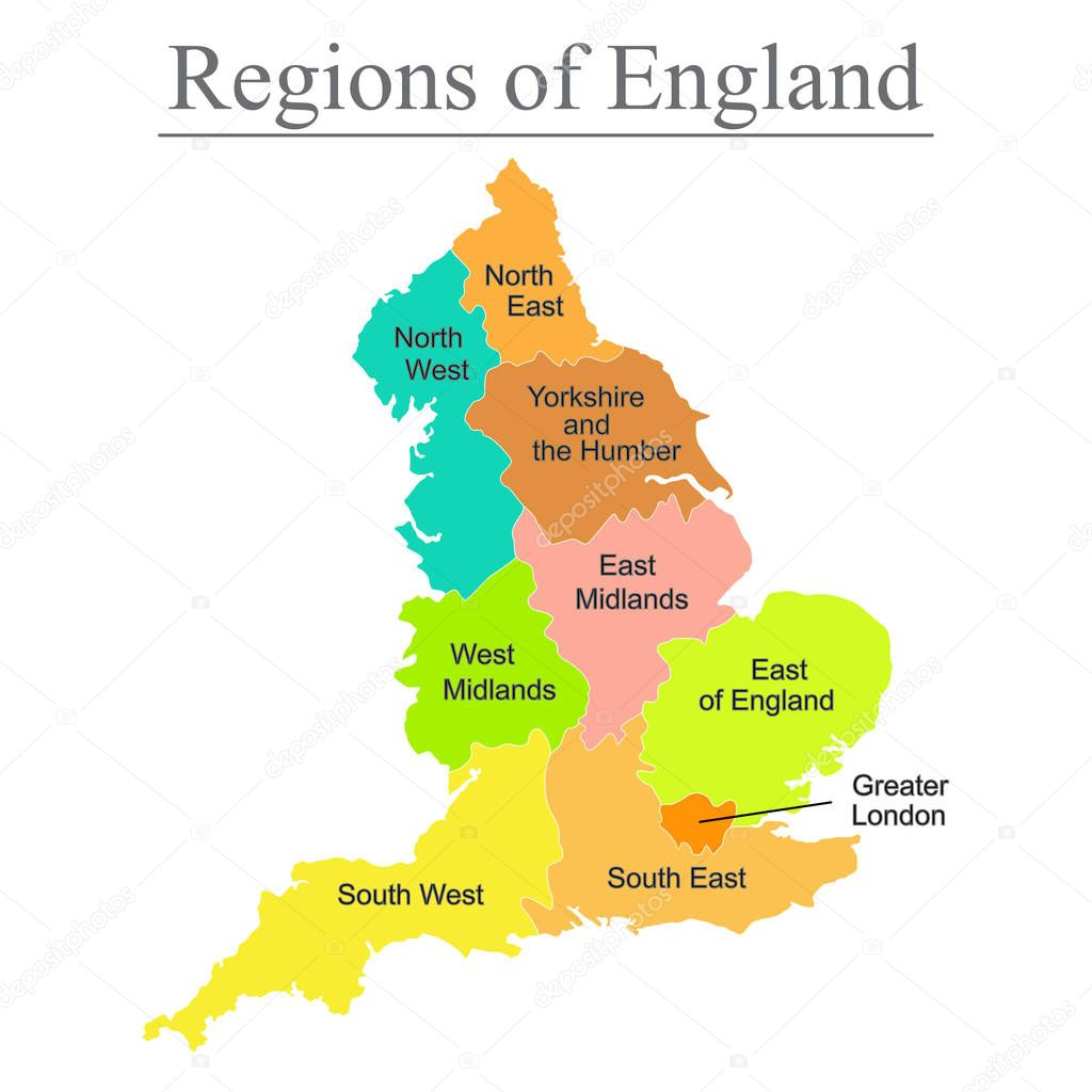 Map Of England 950.Colorful Map Of England With Outline On White Background Stock