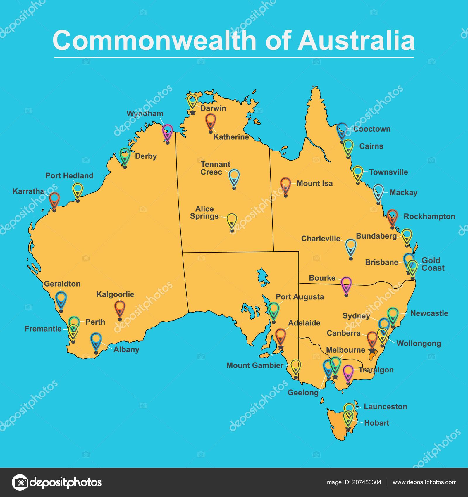 Carte Australie Principales Villes.Carte De L Australie Avec Les Grandes Villes Et Capitales