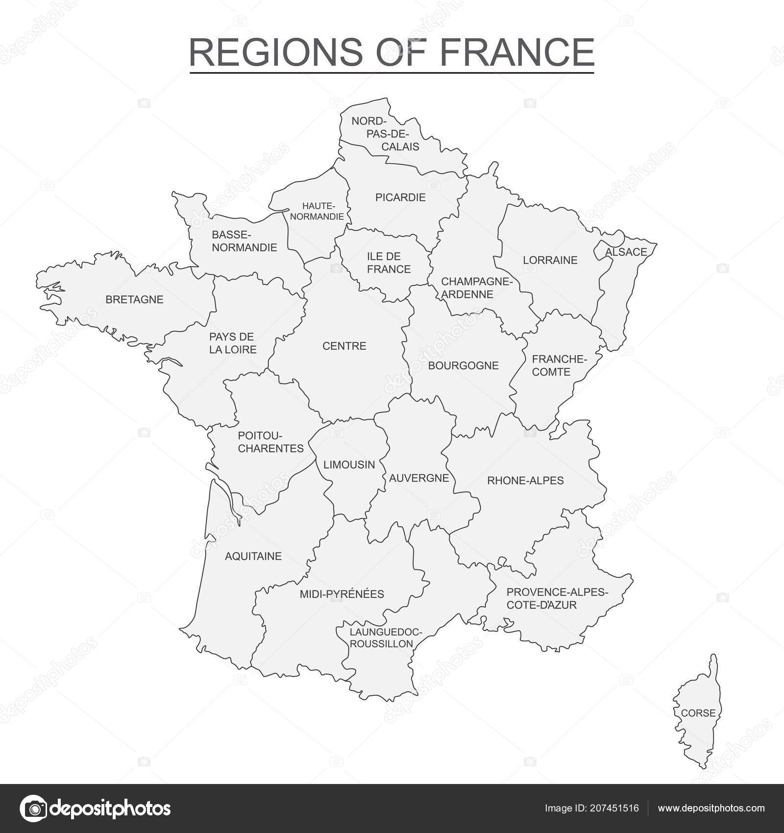 Interactive Map Of Metropolitans French Regions On White Background