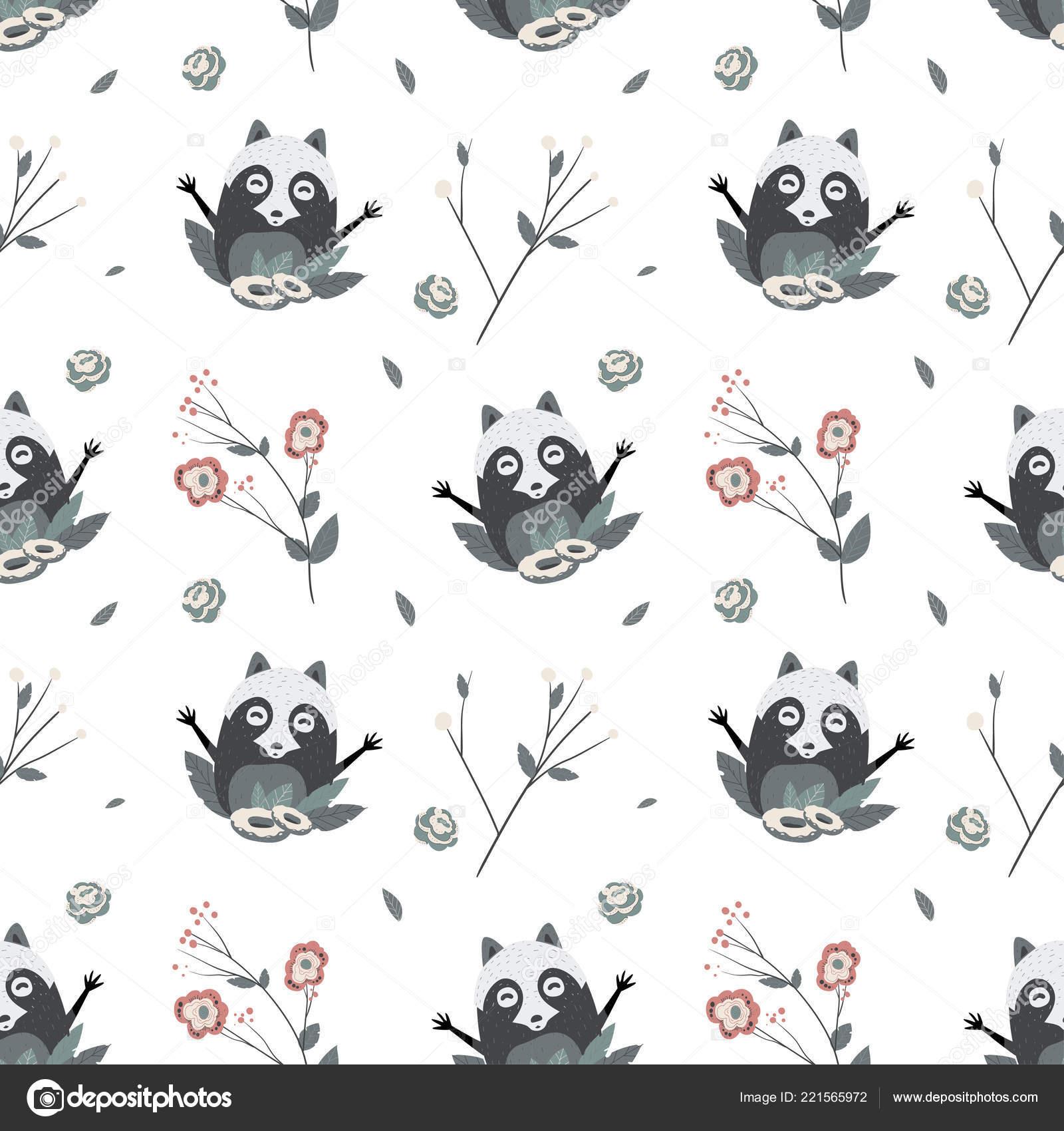 Lindos mapaches, patrón transparente de vector — Vector de stock ...