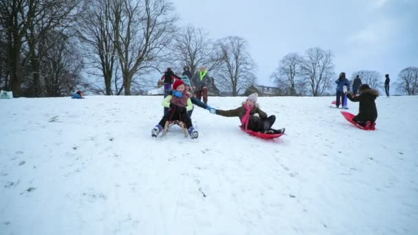 Little girls are being pushed down a hill on sleds in the snow.