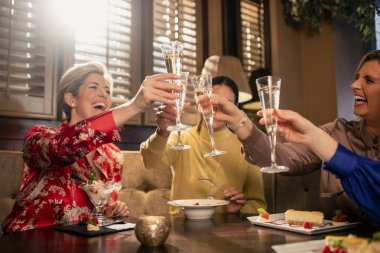 Small group of mature female friends making a celebratory toast while sitting around a table in a restaurant.