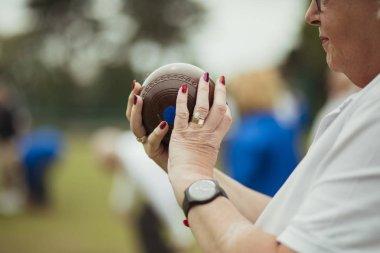 Senior Woman Ready to Lawn Bowl