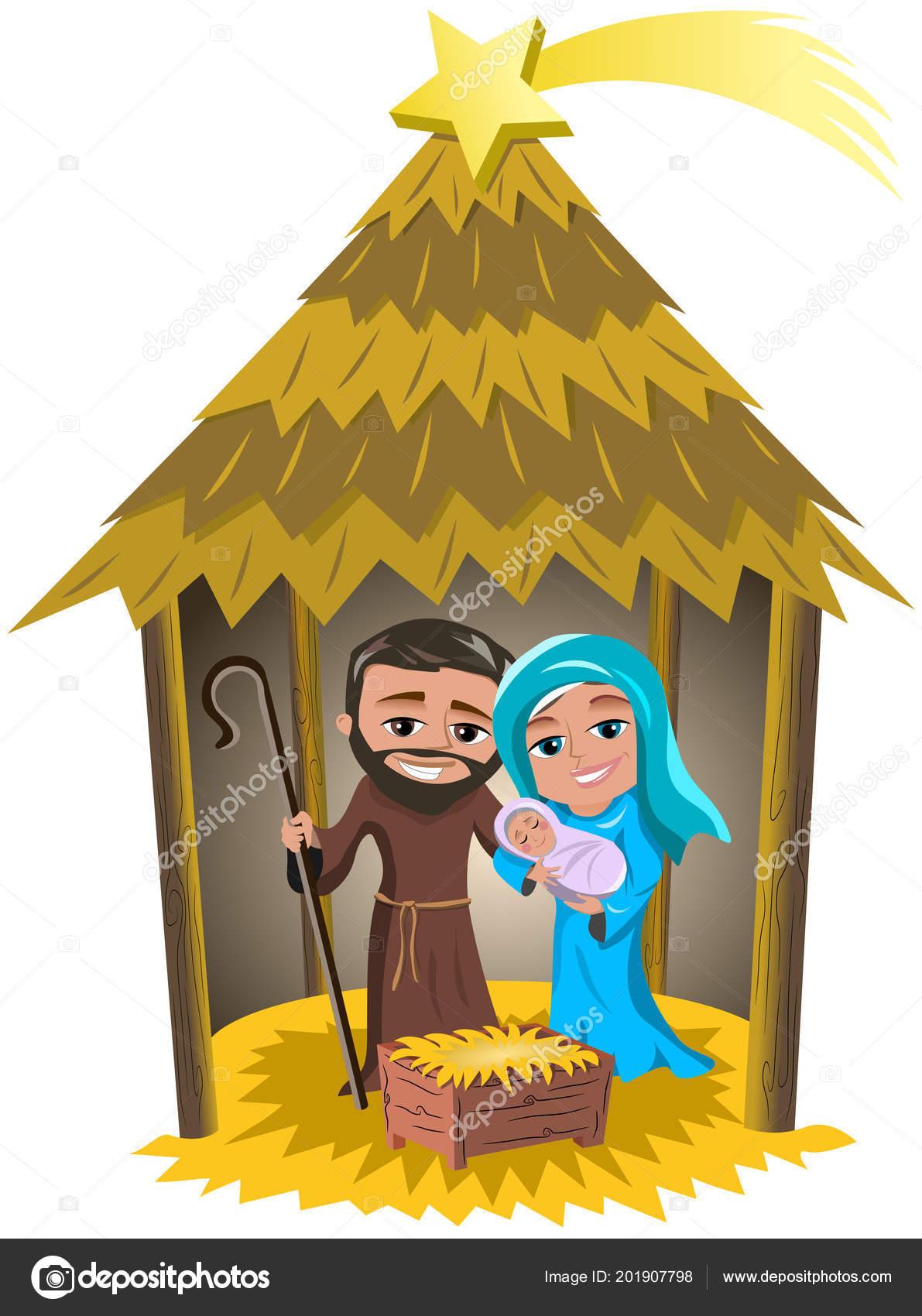 Escena Natividad Navidad Con José María Con Jesús Recién Nacido ...