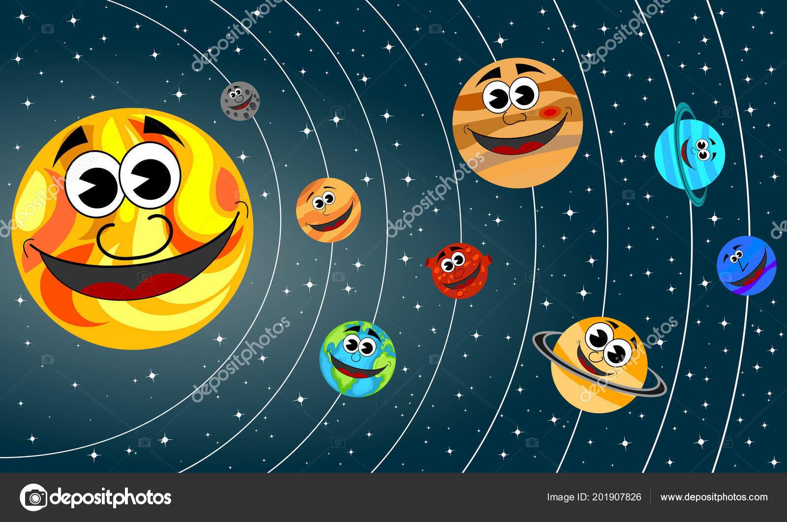 Planetas Dibujos Animados Feliz Órbita Del Sistema Solar