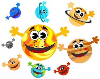Happy funny cartoon characters planets of Solar System and the Sun with open hands isolated