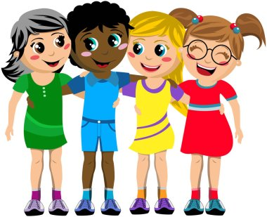 Group of happy multiculture kids or children standing and hugging isolated