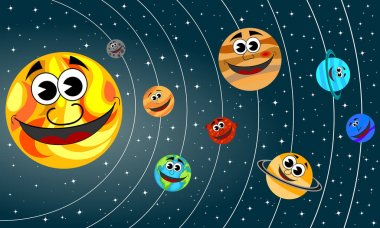 Happy cartoon planets of Solar System orbit the Sun in the space