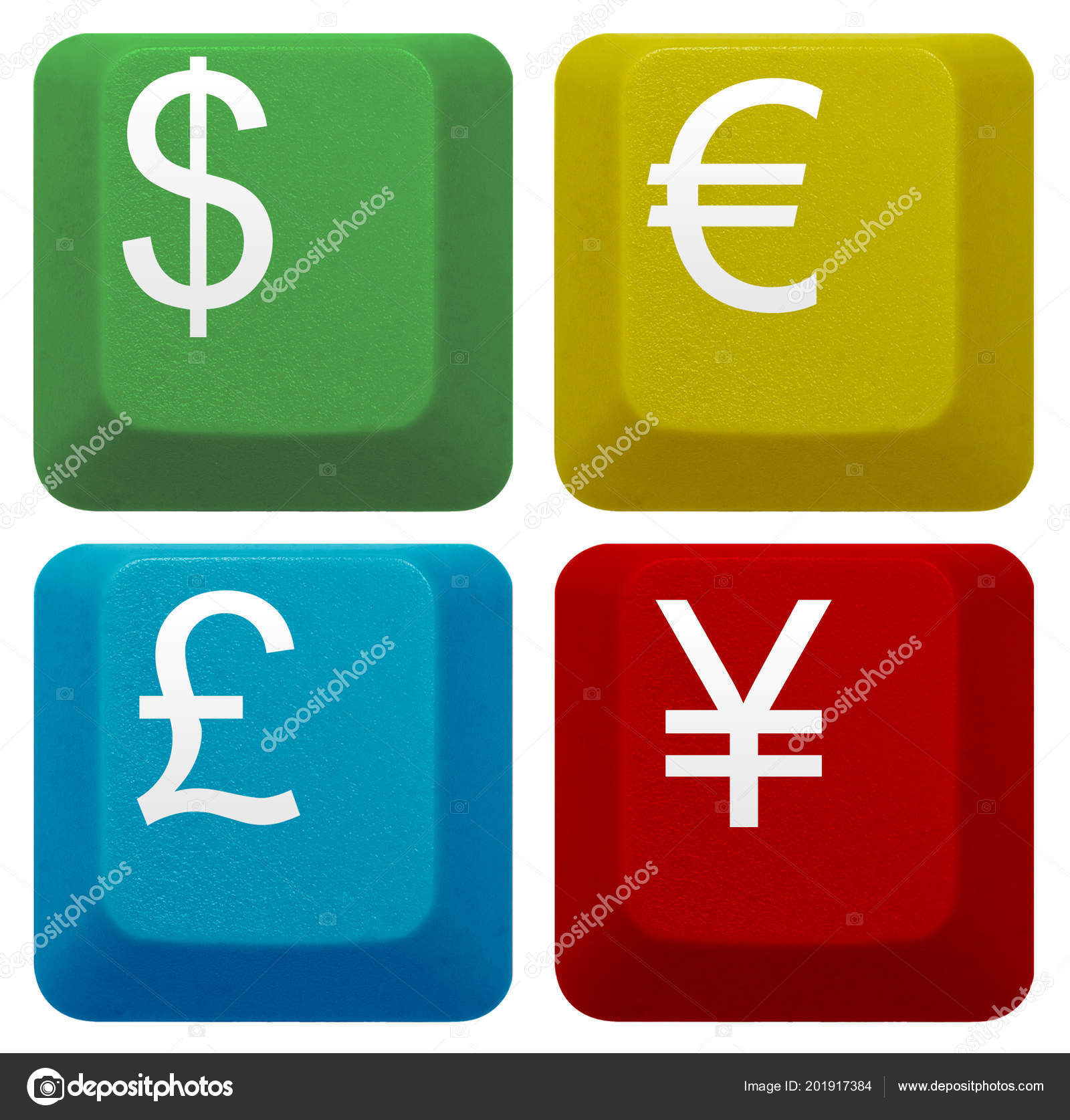 Set Computer Keyboard Key Dollar Euro Pound Yen Currency Symbol