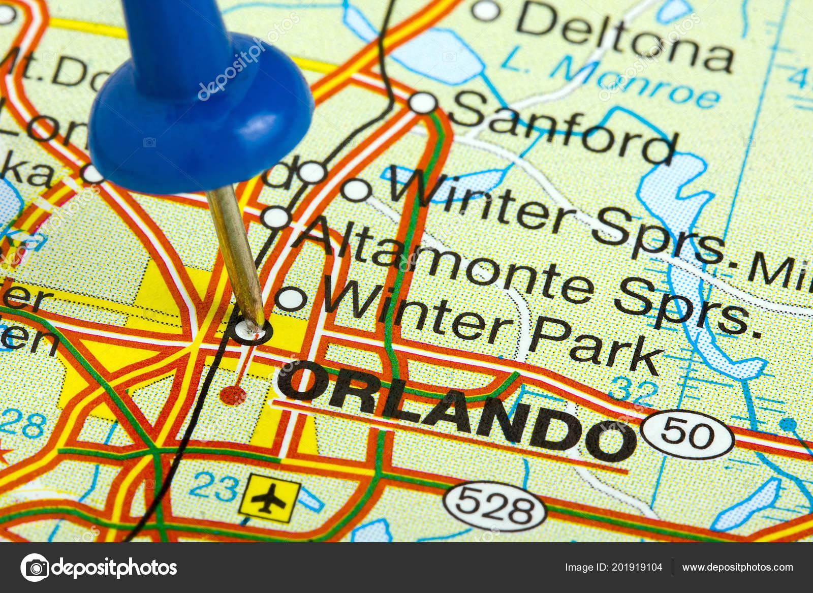 Orlando Florida On Map.Pushpin Orlando Florida Map Stock Photo C Canbedone 201919104