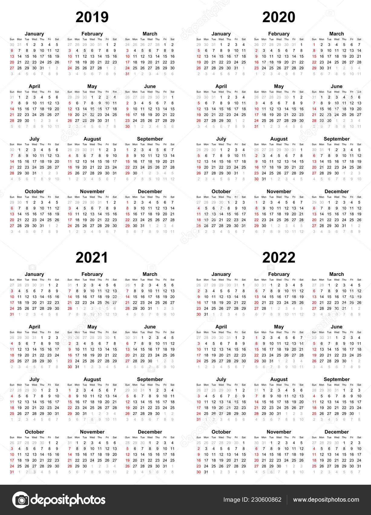 Annual Plain Calendar Sunday First Day 2022 2021 2020 2019 — Stock