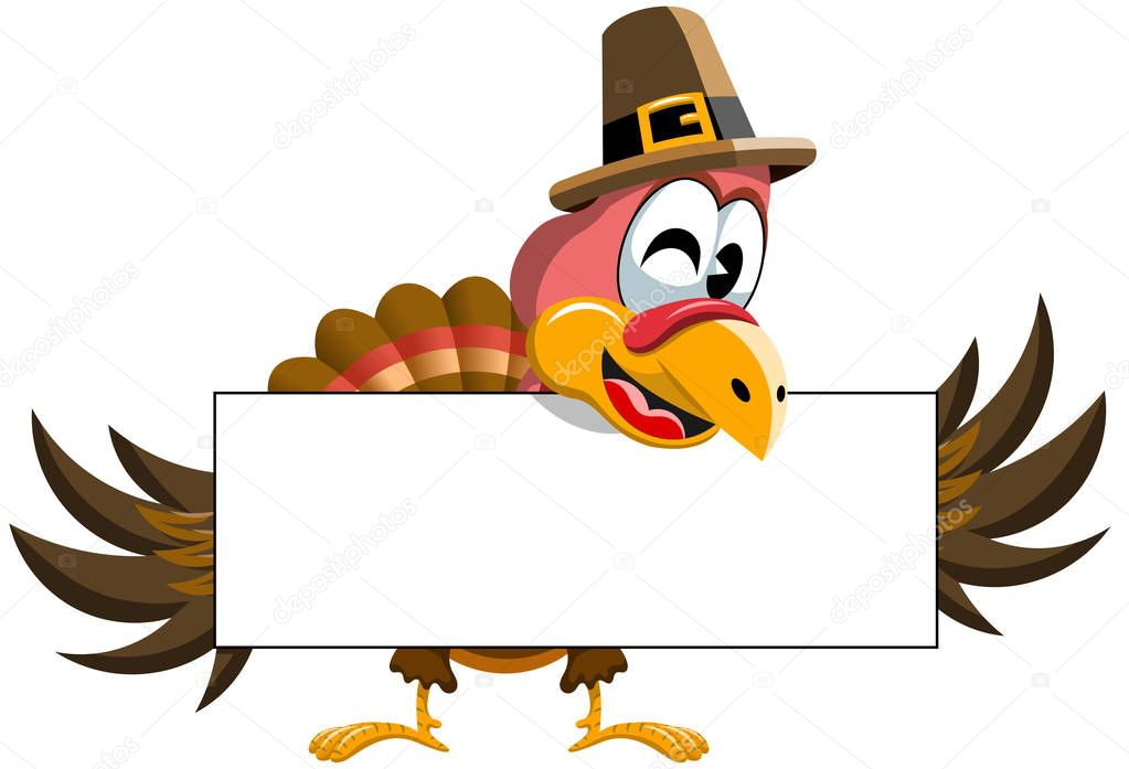 Cartoon Thanksgiving Turkey Holding Blank Banner Isolated Premium Vector In Adobe Illustrator Ai Ai Format Encapsulated Postscript Eps Eps Format