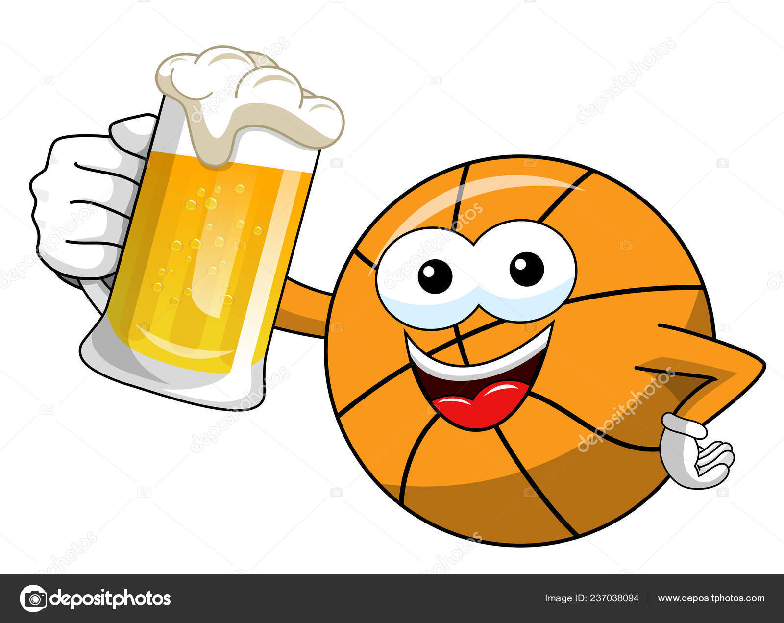 Pictures Funny Cartoon Basketball Basketball Ball Cartoon Funny Character Mug Beer Celebration Isolated White Stock Vector C Canbedone 237038094